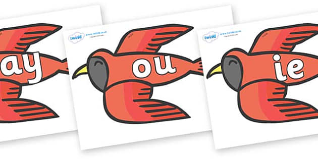 Phase 5 Phonemes on Red Bird to Support Teaching on Brown Bear, Brown Bear - Phonemes, phoneme, Phase 5, Phase five, Foundation, Literacy, Letters and Sounds, DfES, display