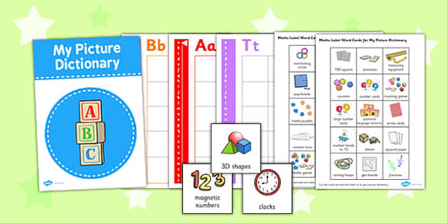 Maths Labels Picture Dictionary Word Cards - dictionary, picture