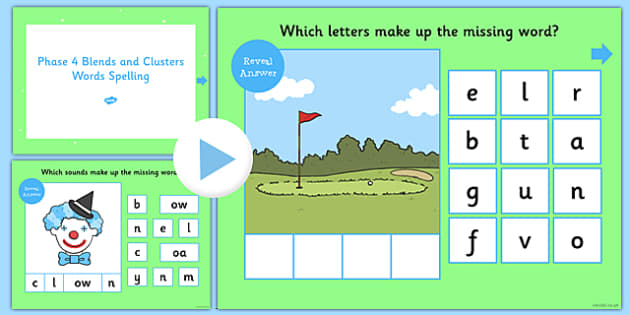 Phase 4 Blends and Clusters Words Spelling PowerPoint - phase 4, blends, clusters, words, spelling