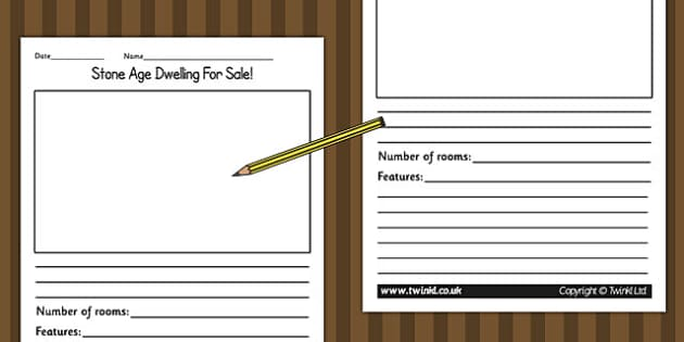 Stone Age Dwelling for Sale Writing Activity - writing templates