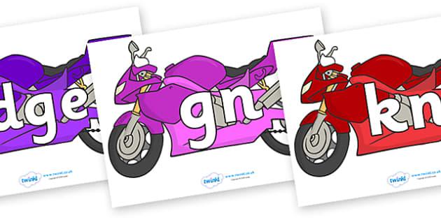 Silent Letters on Motorbikes - Silent Letters, silent letter, letter blend, consonant, consonants, digraph, trigraph, A-Z letters, literacy, alphabet, letters, alternative sounds