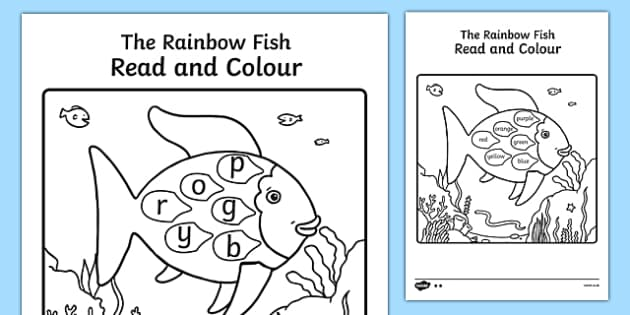 Read and Colour Sheets to Support Teaching on The Rainbow Fish - rainbow fish, read, colour