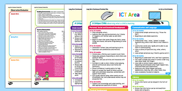 ICT Area Continuous Provision Plan Posters 16-26 to 40-60 Months - ict, area, continuous provision plan, posters, 16-26, 40-60