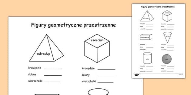Bryły geometryczne po polsku - matematyka, geometria