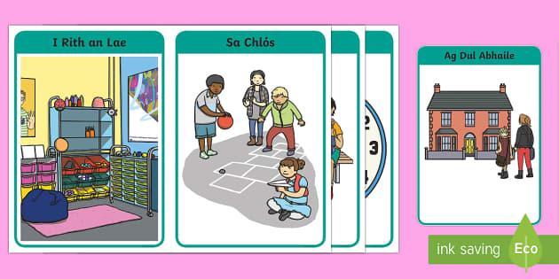 Times of the School Day in Irish Display Pack - Gaeilge KS1 Display, amchlár, Ar Maidin, Am Rolla, Am Sos , Am Lóin, I Rith an Lae, Sa Chlós ,Iri