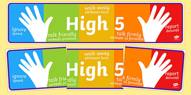High Five How To Deal With Bullying Display Banner Romanian Translation - displays, buly, bulying, abnner