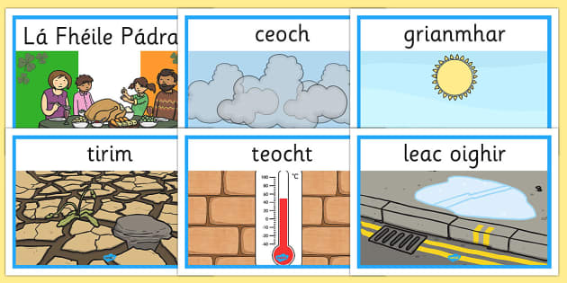 Weather Display Posters Gaeilge - gaeilge, weather, display posters, display, posters, aimsir