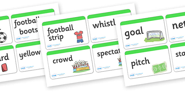 Football Word Cards - Word Card, Word Cards, Sport, Soccer, Topic, Foundation stage, Footballs, world cup