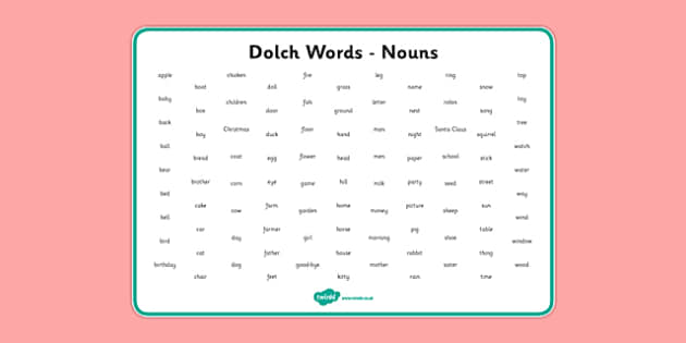 Dolch Words Word Mat Nouns - usa, america, dolch, word, word mat, mat, nouns