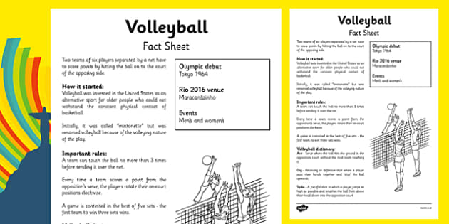 The Olympics Volleyball Fact Sheet - the olympics, rio olympics, 2016 olympics, rio 2016, volleyball, fact sheet