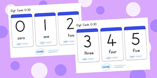 Number And Word Digit Cards 0 30 - number, word, digit card, 0-30