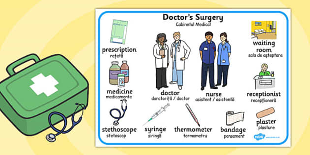 Doctors Surgery Word Mat Romanian Translation - romanian, doctors