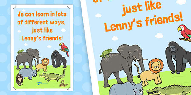 Lenny Lion's Learning Display Poster - lenny lion, learn, display
