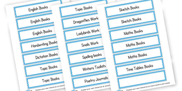 Book tray labels - Classroom Labels Primary Resources, book label, resource label