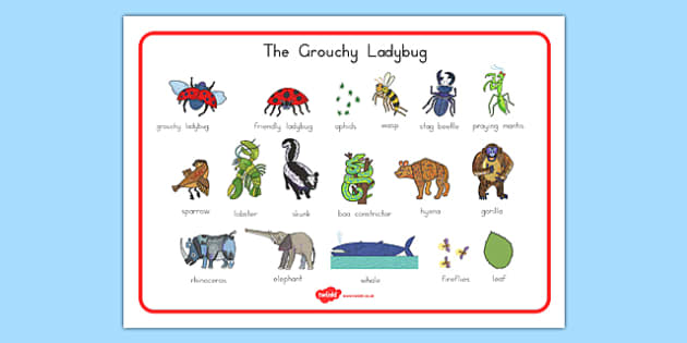 The Grouchy Ladybug Word Mat - usa, america, the grouchy ladybug, word mat