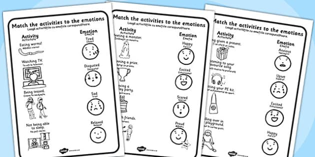 Emotions Activity Worksheets Romanian Translation - romanian
