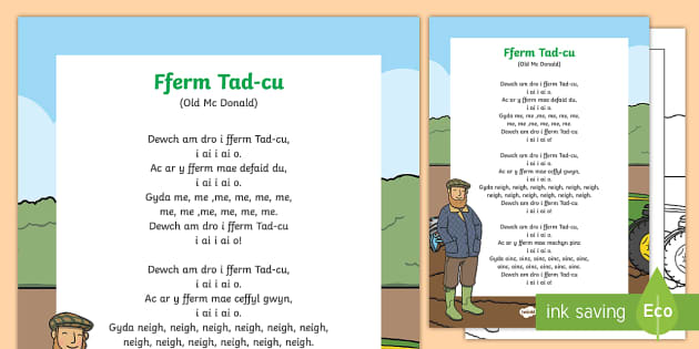 Old MacDonald Had a Farm Display Poster Welsh - Welsh Second Language Songs and Rhymes, Welsh, Welsh Songs, Welsh display.,Welsh