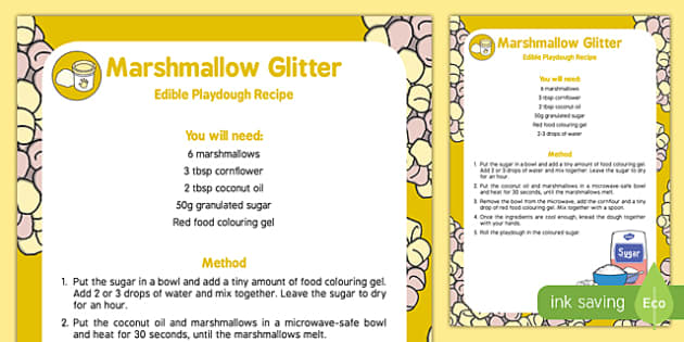 Marshmallow Glitter Playdough Recipe