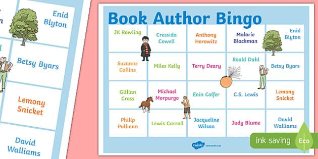 Book Author Bingo A3 Display Poster - book, author, bingo, a3, display poster, display, poster