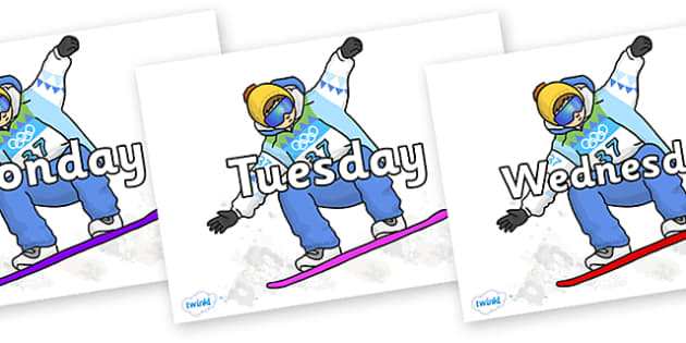 Days of the Week on Snowboarding - Days of the Week, Weeks poster, week, display, poster, frieze, Days, Day, Monday, Tuesday, Wednesday, Thursday, Friday, Saturday, Sunday