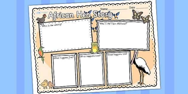 African Hen Story Book Review Writing Frame - write, picture