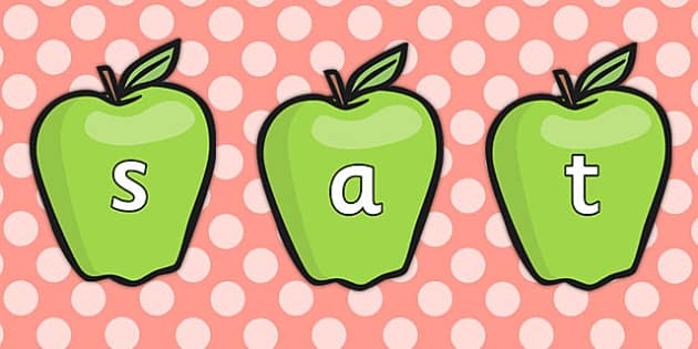 Phase 2 Phonemes on Green Apples - phase 2, phonemes, apples