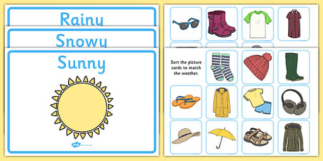Weather Clothes Sorting Activity Clothes Sorting Activity