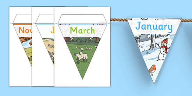 Months of the Year Display Bunting - months of the year bunting, months of the year, months of the year on bunting, months bunting, months on bunting