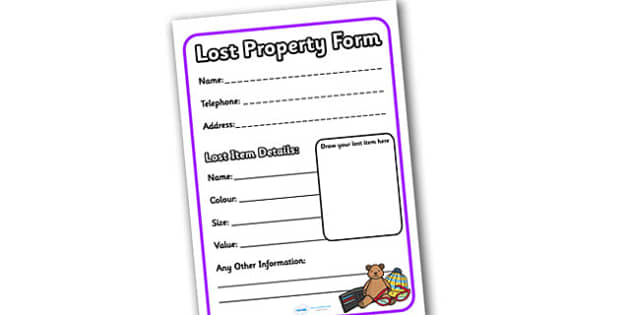 Lost Property Role Play Form - lost property, role play, lost property form, lost property role play, role play form, lost property role play form