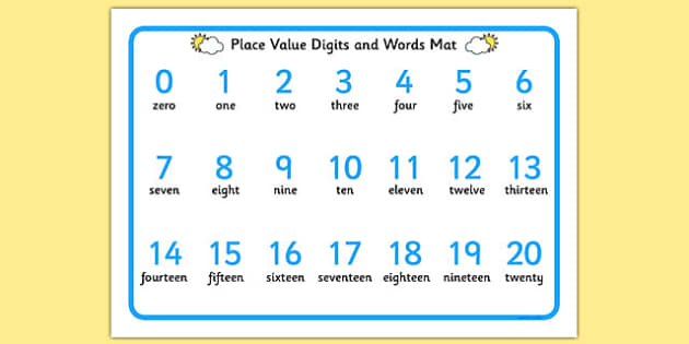 Place Value Digits and Words Mat 0-20 - place value, digits, words, mat, 0-20