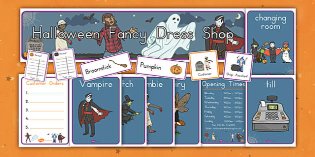 Halloween Fancy Dress Shop Role Play Pack - american, us, usa, trick or treat, role play, shopping, maths, adding, money, counting, dressing up, costumes, display, kindergarten, ks1, early years