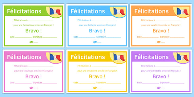French End of Year Good Year Award Certificate-French