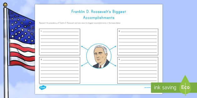 Franklin D. Roosevelt's Biggest Accomplishments Writing Activity Sheet - American Presidents, American History, Social Studies, Barack Obama, Lyndon B. Johnson, Franklin D.