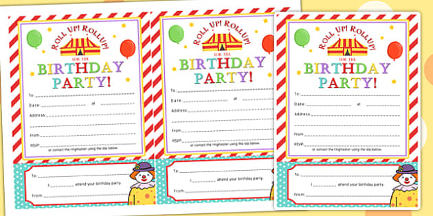 Circus Themed Birthday Party Invitations - parties, birthdays
