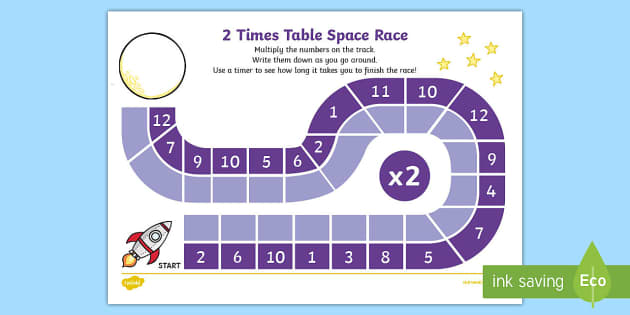 2 Times Table Space Race Activity Sheet - multiplication