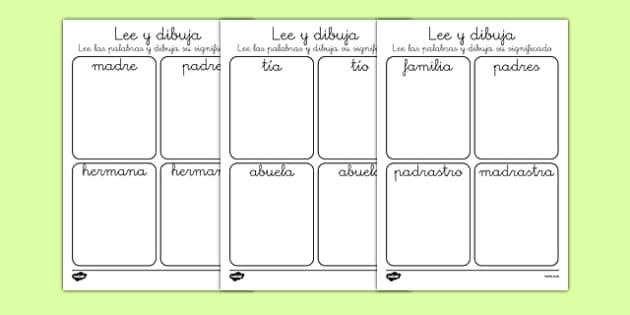 Ficha de leer y dibujar - Mi familia - padre, madre, hermano, abuelo, parientes, árbol de familia