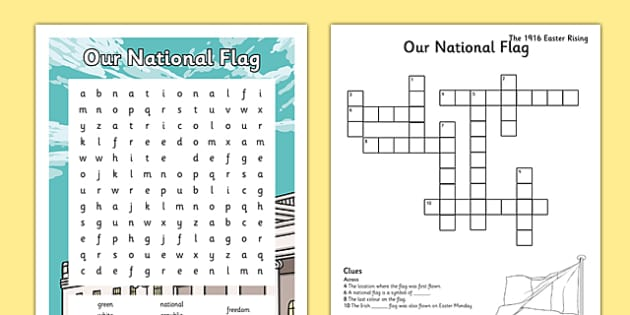 Irish History 1916 Rising Word Search and Crossword - irish history, 1916 rising, easter rising, crossword, word search, national flag, tricolour, ireland