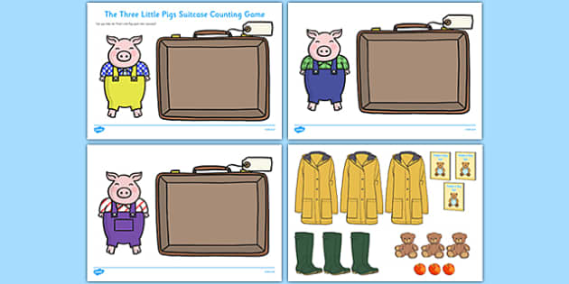The Three Little Pigs Suitcase Counting Sheets - three little pigs, suitcase, counting, count