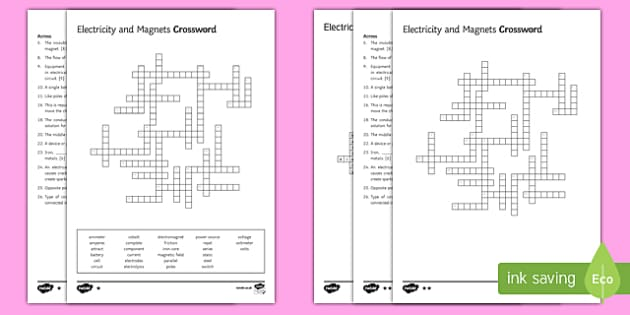 KS3 Electricity and Magnetism Crossword