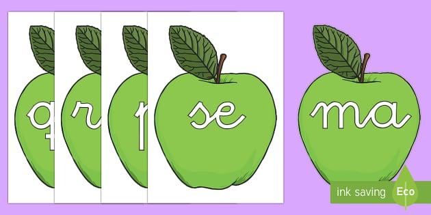 Manzanas verdes tarjetas de sílabas - lecto, leer, primeros sonidos, comida,Spanish