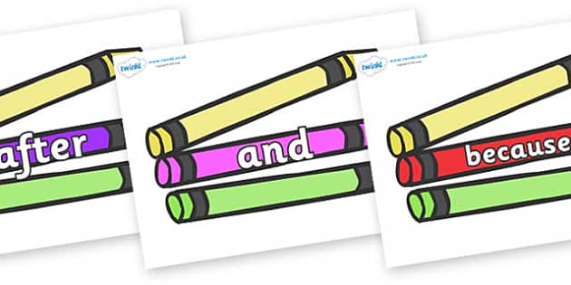 Connectives on Crayons - Connectives, VCOP, connective resources, connectives display words, connective displays
