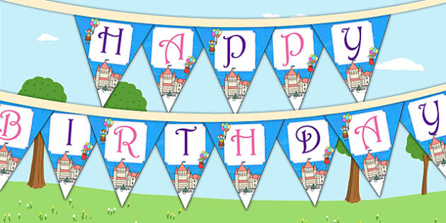 Fairytale Themed Birthday Party Happy Birthday Bunting - birthday