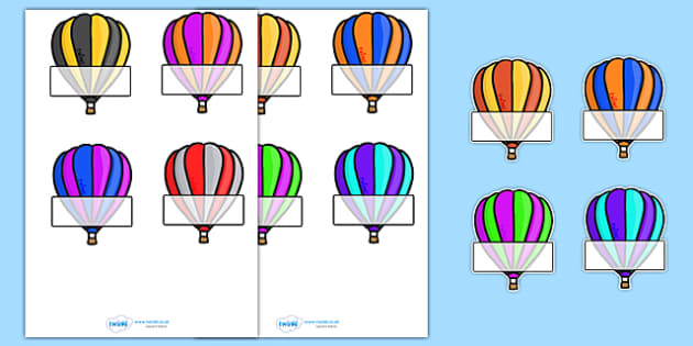 Editable Self Registration Labels (Hot Air Balloons) - Self registration, register, transport, hot air balloons, editable, labels, registration, child name label, printable labels