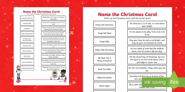 Christmas Carols Activity Sheet
