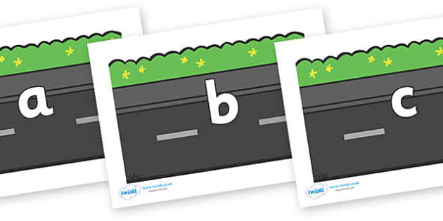 Phase 2 Phonemes on Roads (Plain) - Phonemes, phoneme, Phase 2, Phase two, Foundation, Literacy, Letters and Sounds, DfES, display
