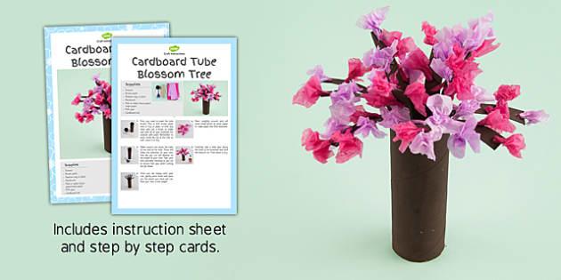Cardboard Tube Blossom Tree Craft Instructions - craft, blossom tree, instructions, cardboard
