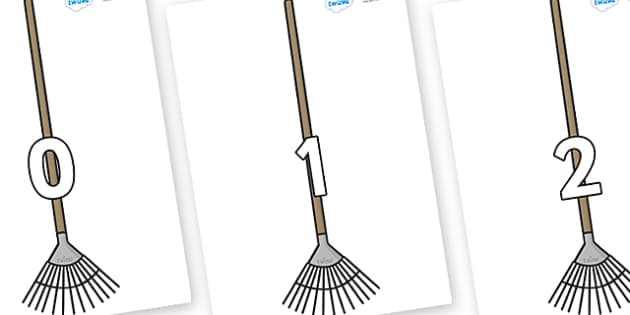 Numbers 0-100 on Garden Rakes - 0-100, foundation stage numeracy, Number recognition, Number flashcards, counting, number frieze, Display numbers, number posters