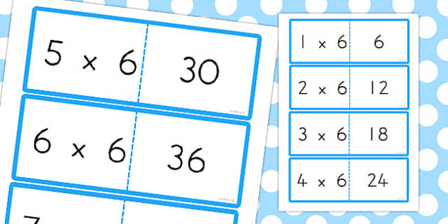 6 Times Table Cards - australia, times table, times tables, cards, 6, times