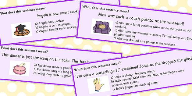 Food Idioms Sentences Multiple Choice Cards - food, idioms, choice