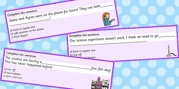 Number Idioms Complete the Sentence Cards - number, idioms, sentence